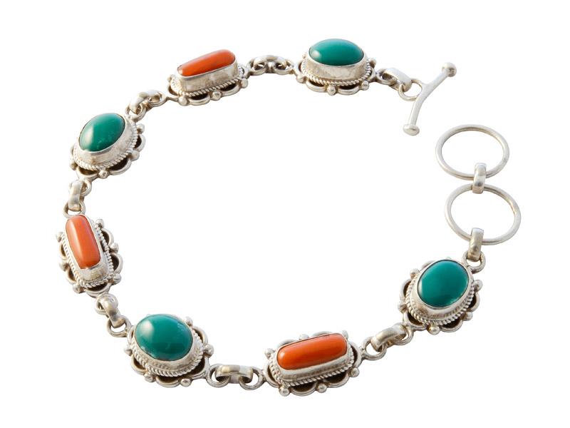 Nepalese zilveren armband met koraal en turkoois