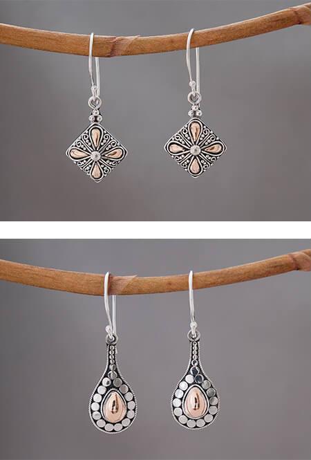Zilveren oorbellen met goud accenten