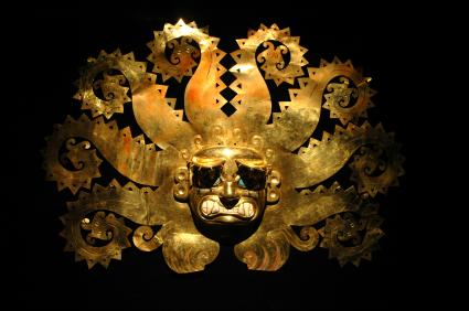 Peruaans oud masker van goud