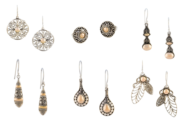 Zilveren oorbellen met gouden accenten uit Bali