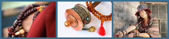 Mala, gebedsmolen en Tibetaans meisje met sieraden