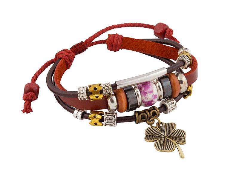 Leren Armband Uit Tibet Met Klavertje Vier