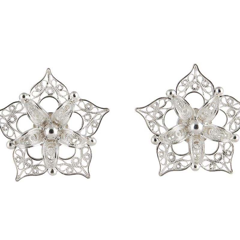 Zilveren filigrain oorbellen uit Peru in de vorm van een ster